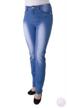 57b3871c4bb3da Spodnie jeansowe niebieskie wytarte z prostą nogawką wysoki stan