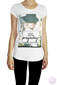 Biała koszulka T-shirt  -  I NEVER LIKED YOU ANYWAY