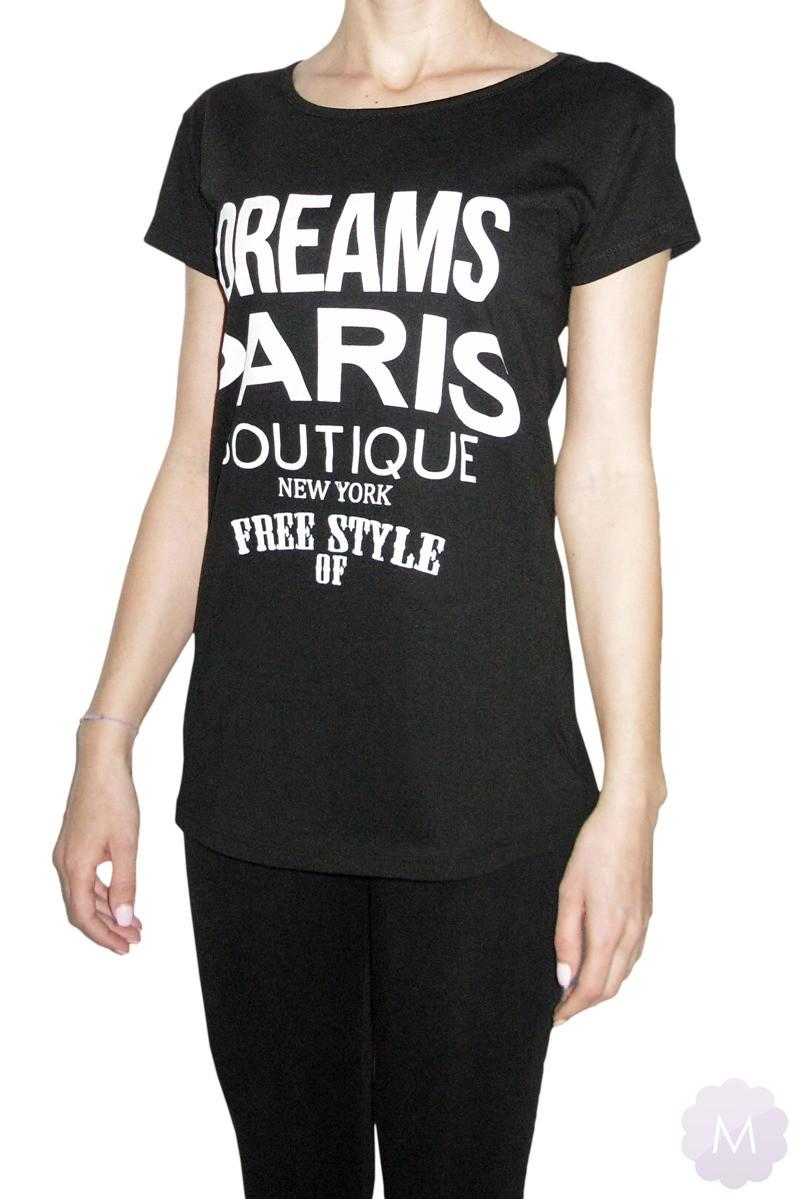 7ddce6929634cb Czarna koszulka / tunika OVERSIZE - DREAMS PARIS BOUTIQUE za jedyne ...