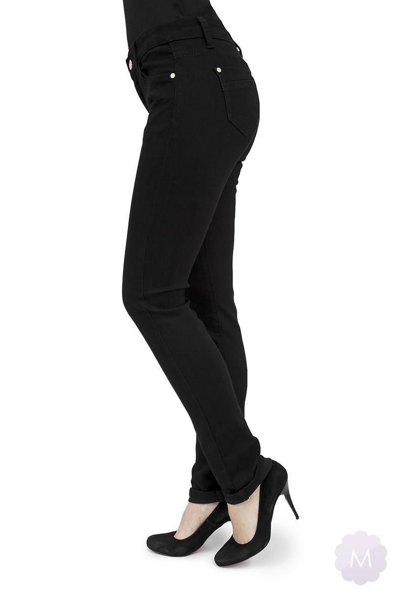 Czarne damskie spodnie jeansowe z prostą nogawką i wysokim stanem firmy B.S (S71)