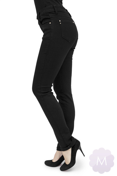 c90ad064dfe5f Damskie spodnie jeansowe czarne lekko zwężane z wysokim stanem Miss ...