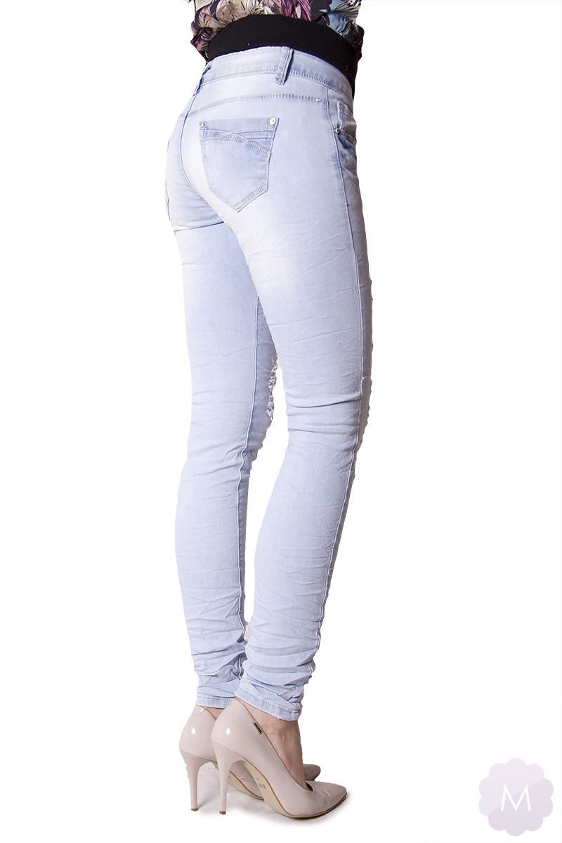 cfb89bf9ca3d3 Kliknij, aby powiększyć · Damskie spodnie jeansy biodrówki rurki gniecione  z dziurami (P1538)