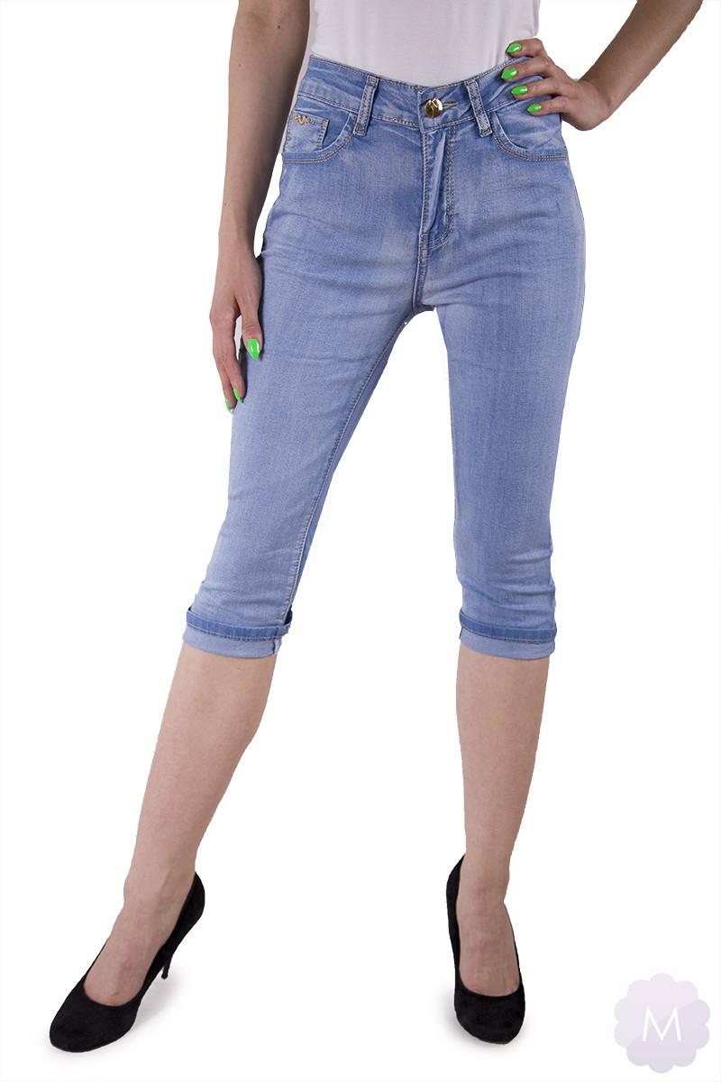 Elastyczne jasne niebieskie spodenki jeansowe z wysokim stanem (JG91031)