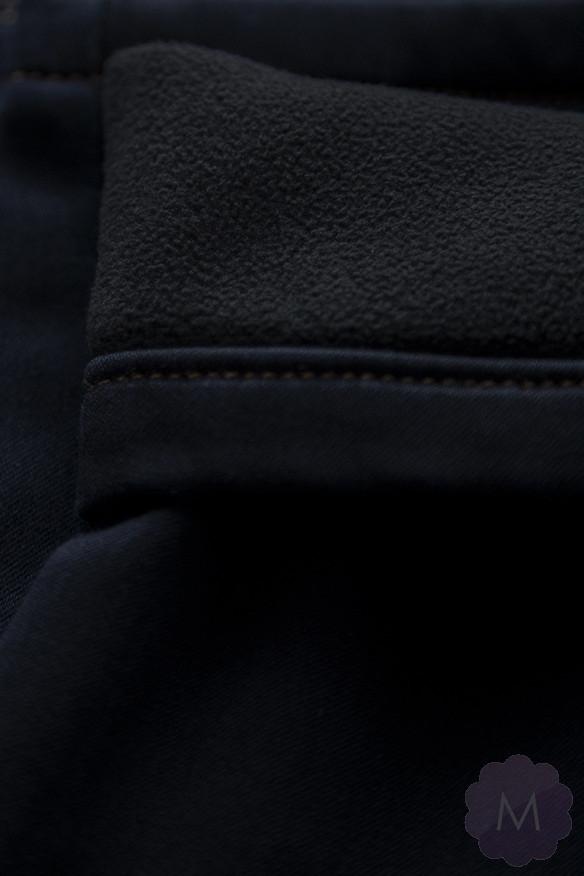 Ocieplane męskie spodnie jeansy granatowe (270)