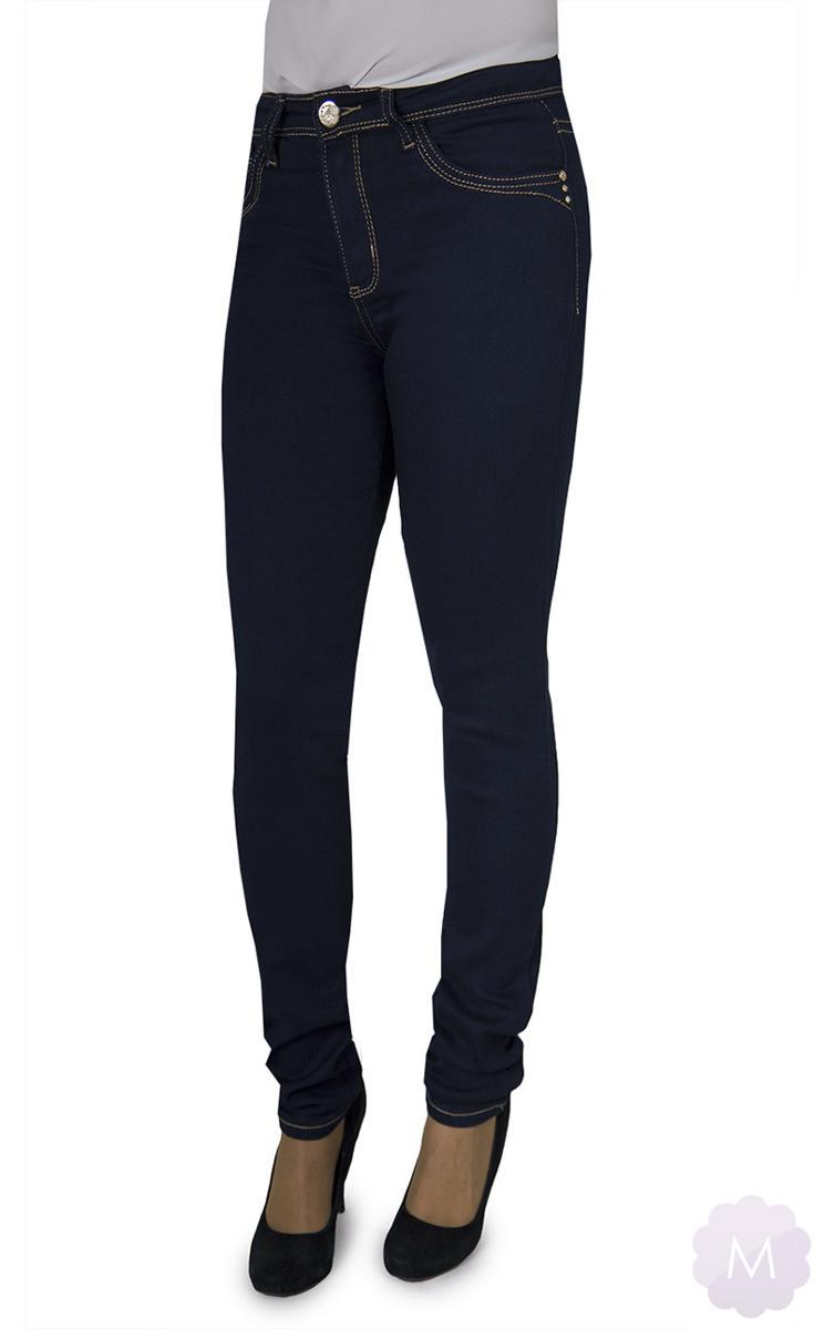 Spodnie jeansowe damskie rurki z wyższym stanem ciemno granatowe PUSH UP (YH3005)