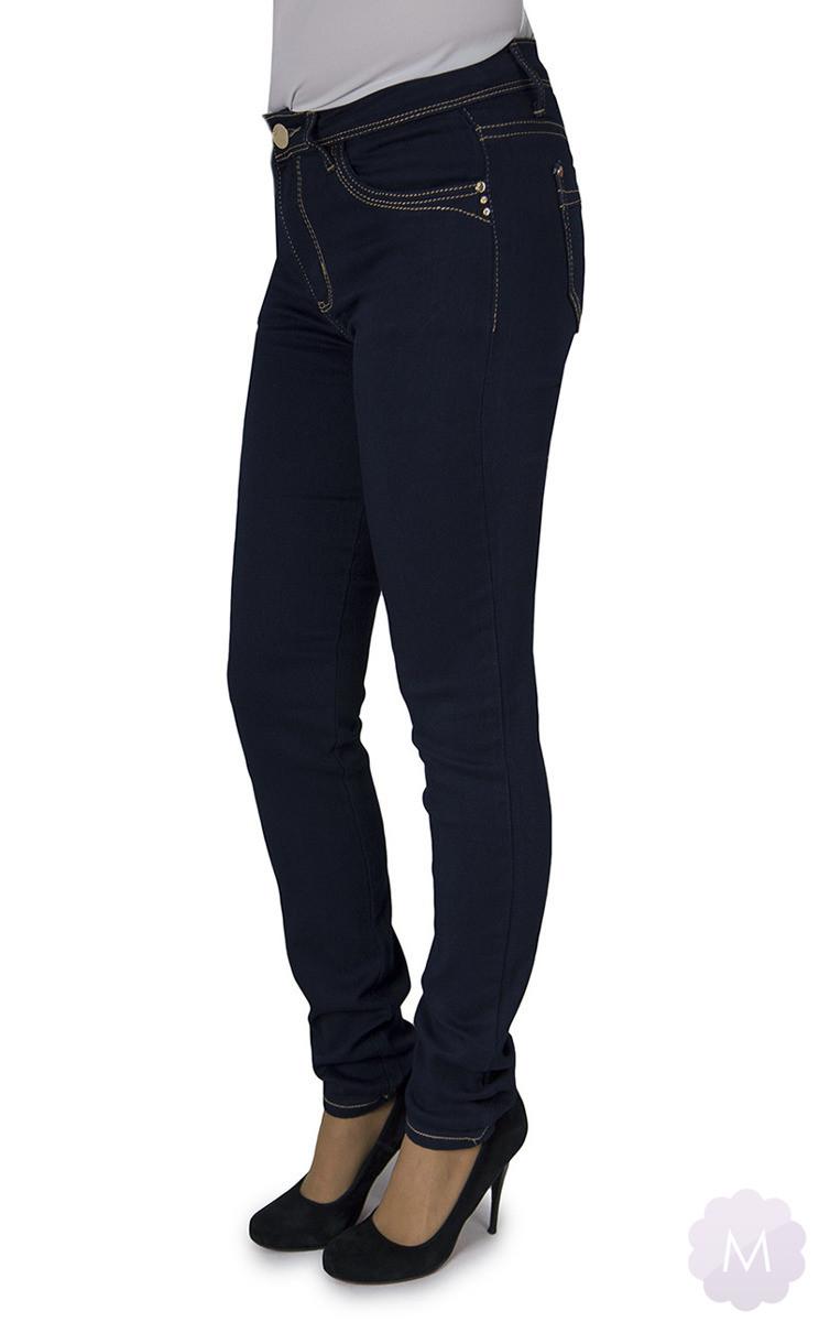 46f747af Spodnie jeansowe damskie rurki z wyższym stanem ciemno granatowe ...