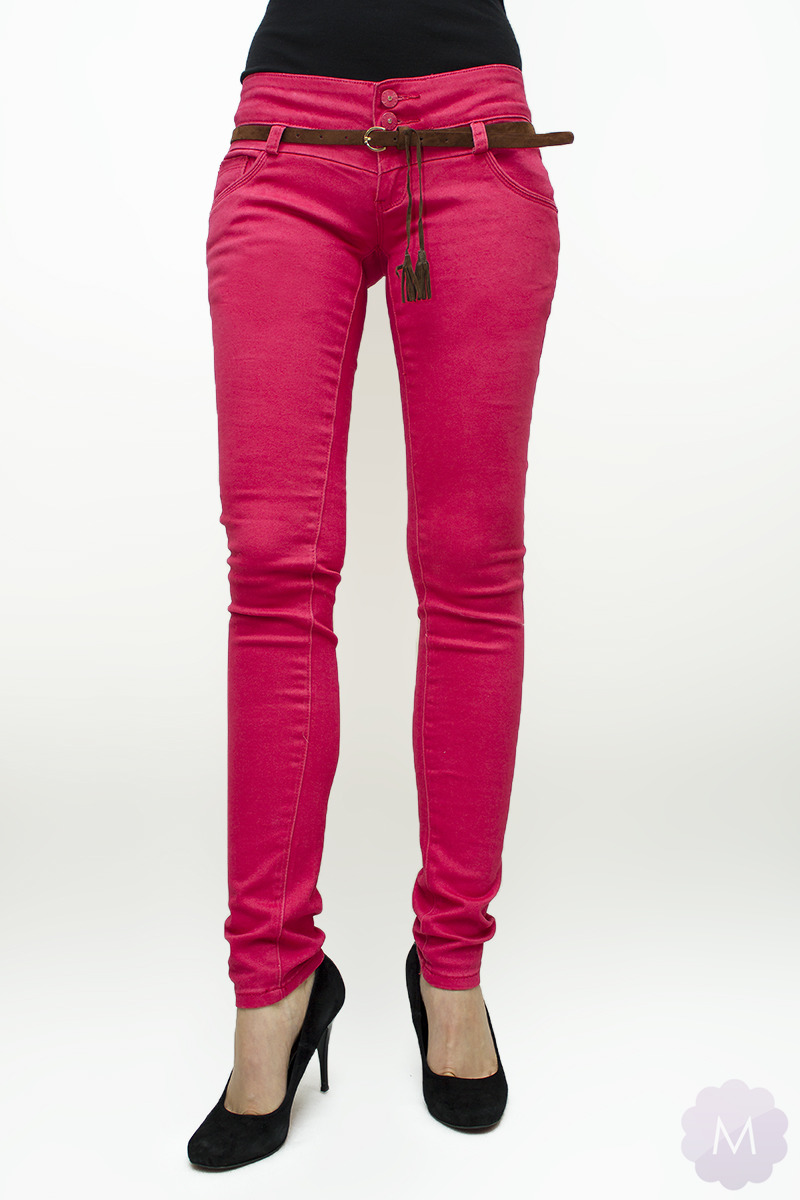 fd7802ca Spodnie jeansowe rurki biodrówki różowe za jedyne   Mercerie.pl