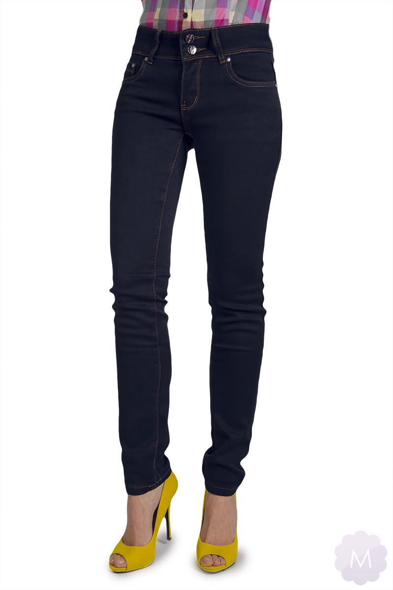Spodnie ocieplane ciemno granatowe jeansowe z wyższym stanem (A43 2)