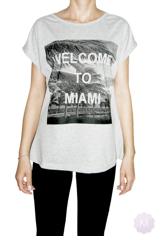 Szara koszulka / tunika OVERSIZE  -  WELCOME TO MIAMI