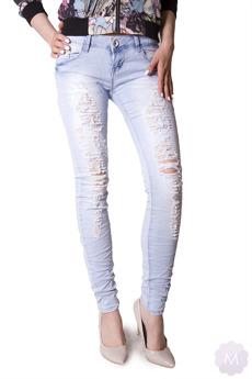 Damskie spodnie jeansy biodrówki rurki gniecione z dziurami (P1538)